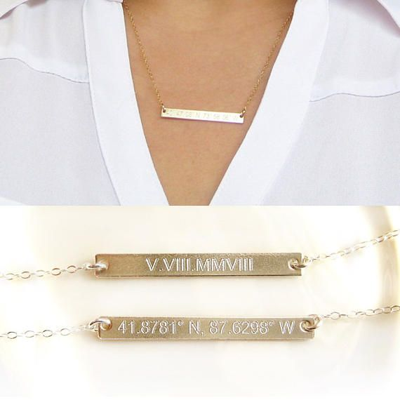 Reversible Custom Silver Nameplate - Coordinates Dates-Gold Bar Necklace-Personalized Bar-14K Gold Filled-Rose Gold-Silver-CG213N  Personalize this chic skinny bar necklace to make it more meaningful!!! Its reversible so you can engrave front and back to wear either side! Is there a special place, dates, names or words you want to cherish? You can personalize them on this chic trendy necklace!  ♥ Each side can be engraved with * Names or Initials * Roman Numerals (Roman Numeral Converter…