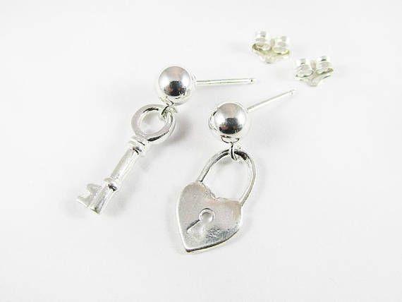 Lock Key Earrings Love Earrings Valentine Gift Sterling Silver
