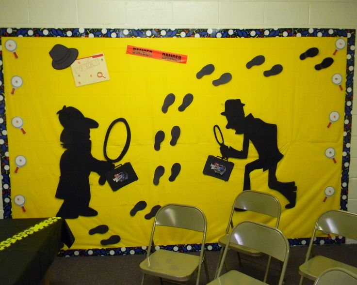 spy theme decorations - footprints, magnifying glasses, silhouettes.