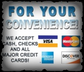We Accept Credit Card for your convenience. Secure processing through Intuit's website and smartphone app, GoPayment. We accept Visa, Master Card, American Express & Discover.