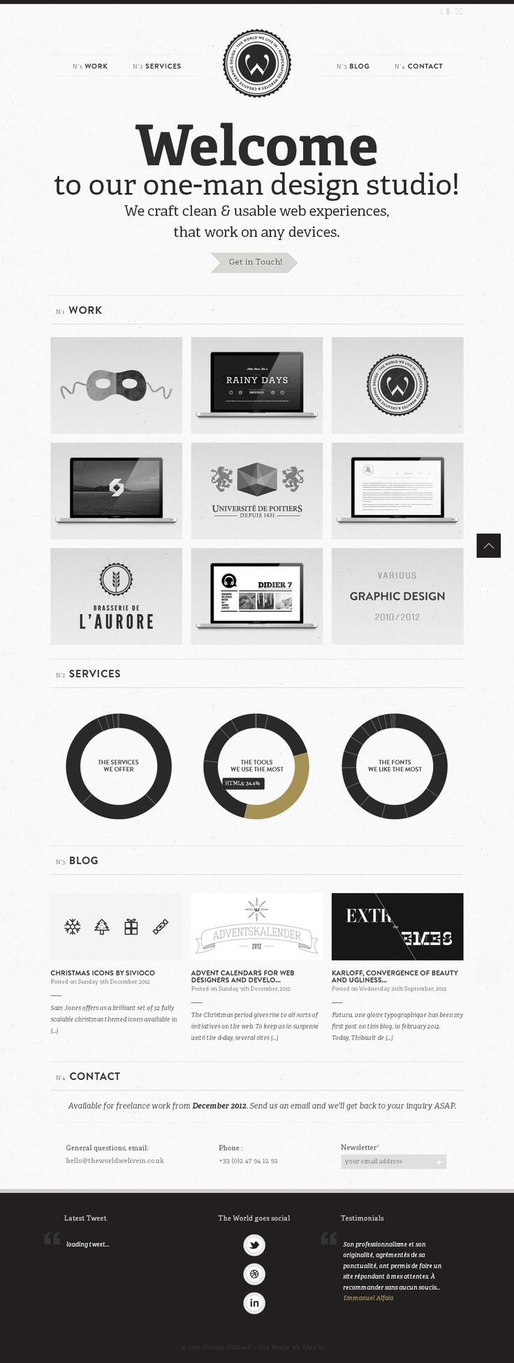 One page site, minimum colour palette, bold typography.