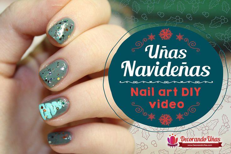 Uñas con motivo navideño – Nail art Diy Video – Video tutorial paso a paso | Decoración de Uñas - Manicura y Nail Art