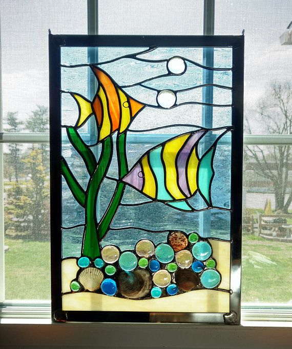 Tropical Fish under the Sea Handcrafted stained glass window panel