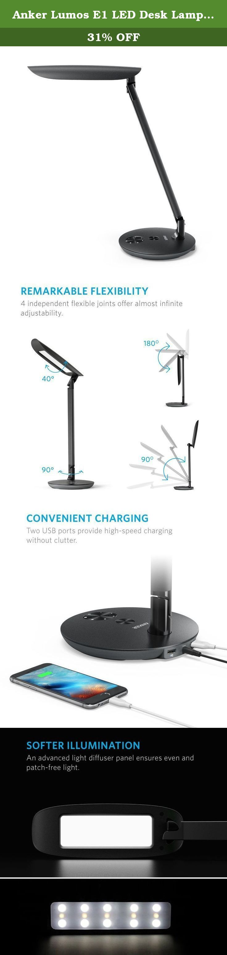 Anker Lumos E1 LED Desk Lamp, Dimmable Table Lamp with 2 High-Speed USB Charging Ports, Eye-Care Tech, Premium Material, Touch-Sensitive Control Panel, 6-Level Dimmer, 5 Lighting/ Color Modes. Lumos E1 The Premium Eco-Friendly LED Desk Lamp From ANKER, the Choice of 10 Million+ Happy Users • Industry-Leading Technology • 99% Positive Feedback Energy-Efficient Lighting Lumos E1 is built with power-saving LEDs that have a 50, 000-hour lifespan, allowing up to 20 years of use. Using 75% less...