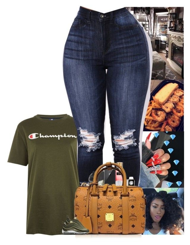 """"""""""" by blackineseprincesse ❤ liked on Polyvore featuring Champion, Victoria's Secret, Tzumi, Happy Plugs, M.A.C, MCM and NIKE"""