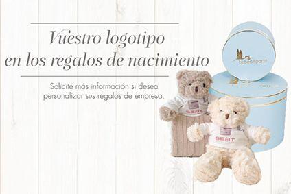Regalos de nacimiento personalizados para empleados con el logitpo de empresa. #regalosempresa #regalospersonalizados #bebedeparis