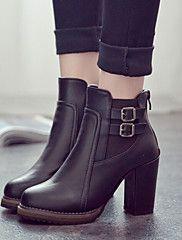 Zapatos de mujer - Tacón Robusto - Comfort / Botines - Botas - Vestido / Casual - Semicuero - Negro / Marrón