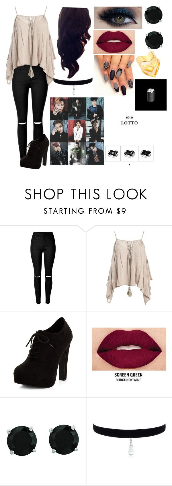 """EXO_Lotto_Music Video (Outfit #2)"" by itsdopeaf ❤ liked on Polyvore featuring Sans Souci, New Look, Smashbox, BillyTheTree and TomTom"