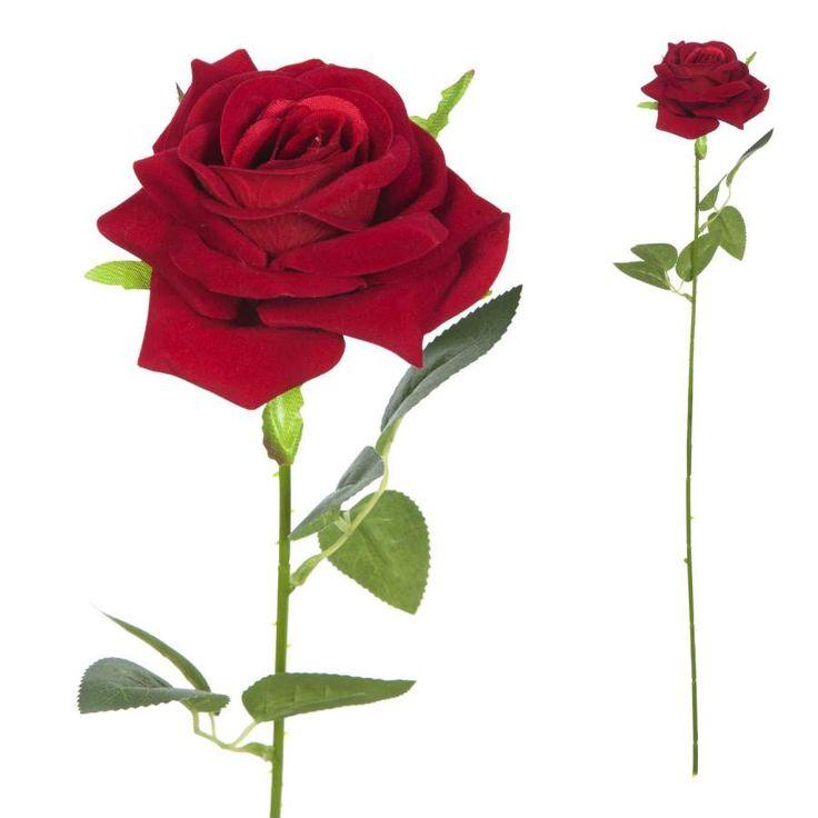 Flores artificiales online. Flor rosa artificial roja de terciopelo. Alambre interior en el tronco. Flor decorativa con aspecto natural. Alto total 63 cms.