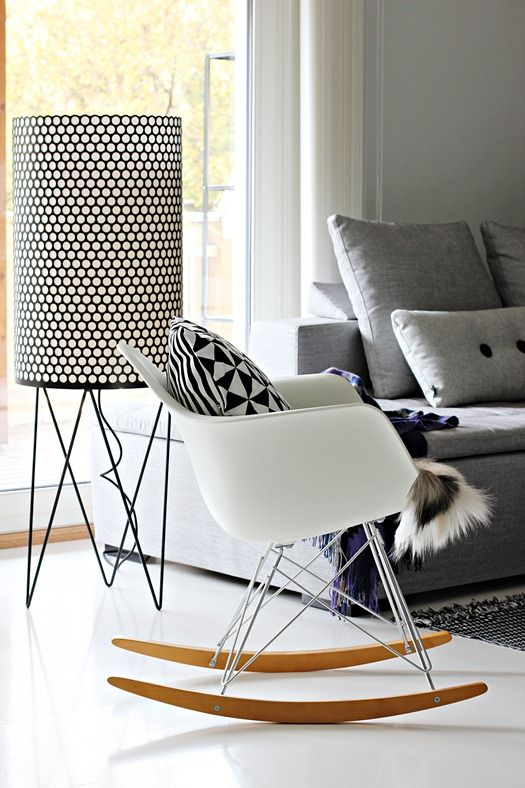 Via Nordic Leaves | Hay Pillow | Eames Rocker | Black & White | Gubi Pedera Lamp