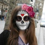"Halloween - PhotoFunia: Free photo effects and online photo editor.   I've been playing with this site all day.  Upload your photo, and see yourself as ""day of the dead"" or a Zombie.  So fun...and a little addicting."