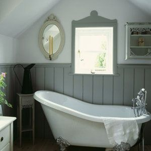 Roll top bath with tongue and groove panelling