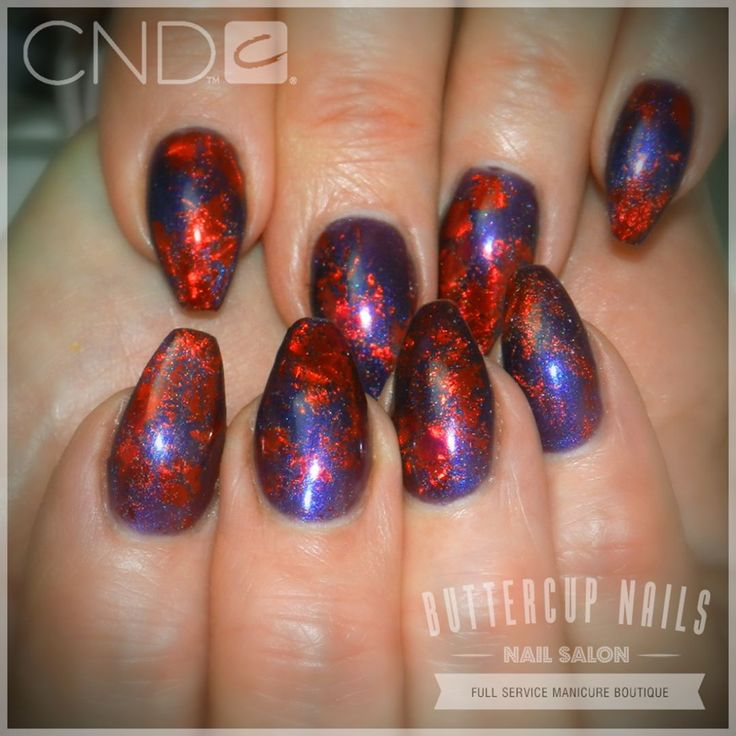 CND Shellac in Eternal Midnight with red foiling, over Retention+ acrylic sculpted nails.    #CND #CNDWorld #CNDShellac #Shellac #nails #nail #nailstagram #naildesign #naildesigns #nailaddict #nailpro  #nailart #nailartist #nailartdesign #nailartofinstagram #nailartdesigns
