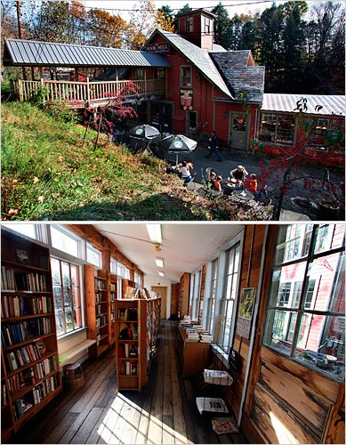 "Montague Book Mill, Amherst Mass whose tagline is: 'Books you don't need in a place you can't find."" Awesome!"