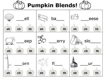 FREE Students will practice the th, sh, and ch digraphs by looking at each picture and choosing the pumpkin with the correct beginning digraph.Please rate and review my product - thank you!