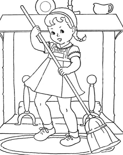vintage coloring pages of children - photo#40