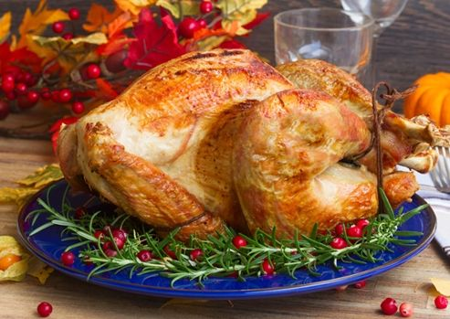 Roast turkey with sage and onion stuffing and gravy