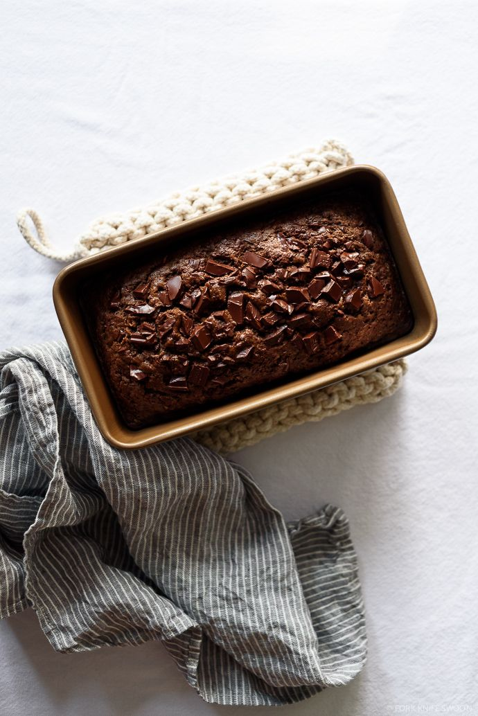 Dark Chocolate Olive Oil Zucchini Bread | Fork Knife Swoon @forkknifeswoon #recipe #dessert #vegetarian