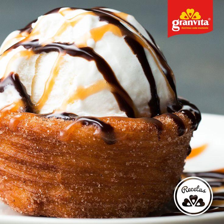 #Receta: Copas de churro con helado.   Un dulce manjar.
