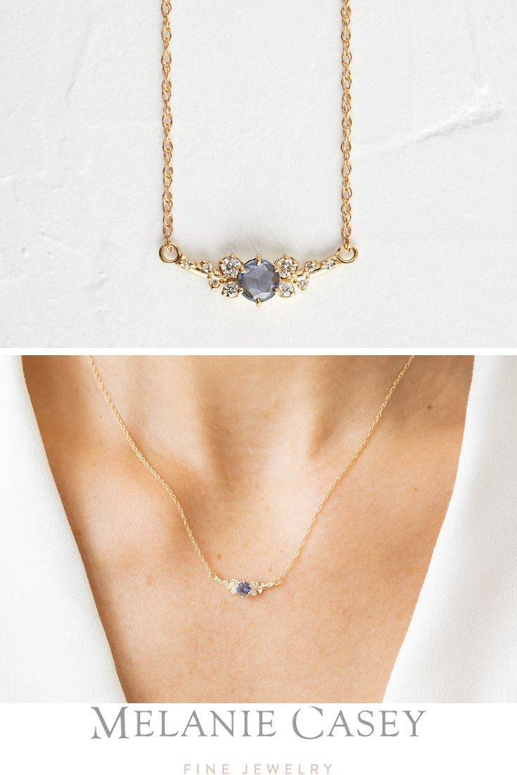 SAPPHIRE SNOWDRIFT NECKLACE 14k Yellow Gold Blue Sapphire Diamond Necklace
