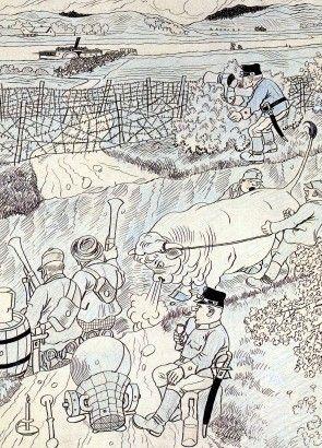Josef Lada Před útokem Pražáků na venkovskou zahradu (Výletníci přepadávají venkov) (Humoristické listy) 1915 kresba tuš