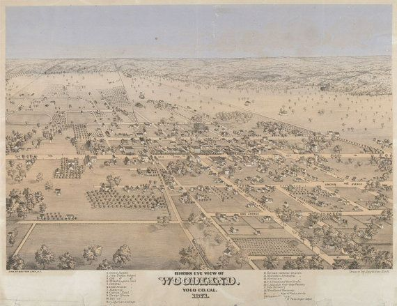 Woodland California Yolo 1874 CA Town Aerial View by GalleryLF