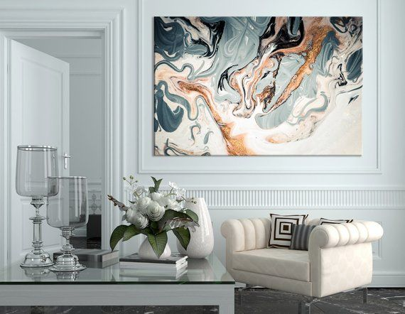 Marble Effect Painting Wall Art Trendy Canvas Print Etsy Abstract Metal Wall Art Modern Wall Decor Modern Wall Art
