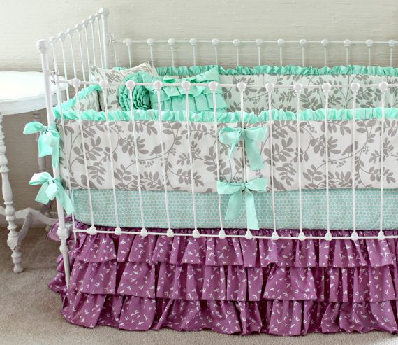purple crib bedding mint and purple baby girl by