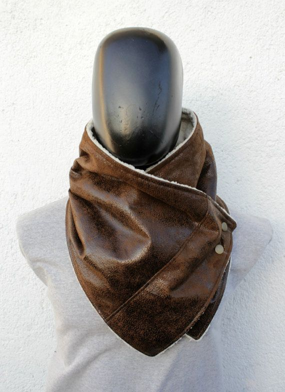 Mens winter. Mens cowl scarf. Unisex scarf. Faux by CheriDemeter