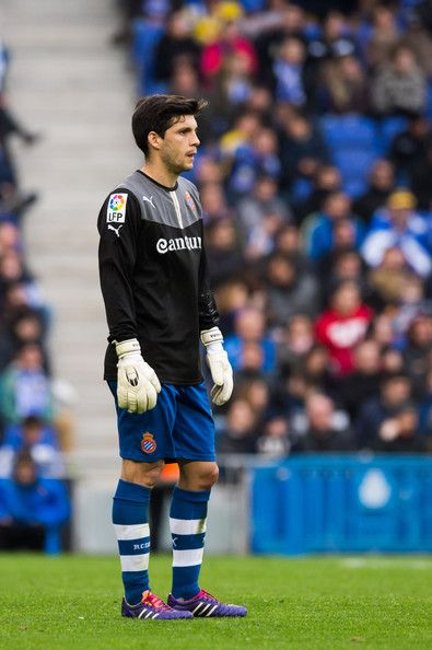 Javi Lopez of RCD Espanyol acts as goalkeeper during the La Liga match between RCD Espanyol and FC Barcelona at Cornella-El Prat Stadium on March 29, 2014 in Barcelona, Catalonia.