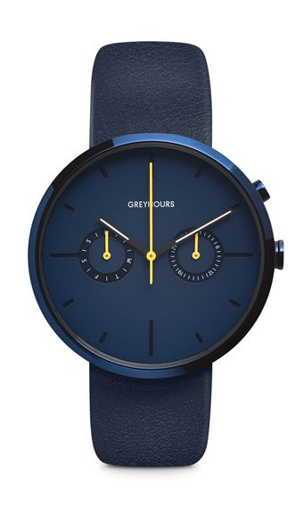 The round 40 mm diameter PVD-coated stainless steel case is light-absorbent, enabling the coating by a simple flick of the wrist to darken to deep blue. Th...