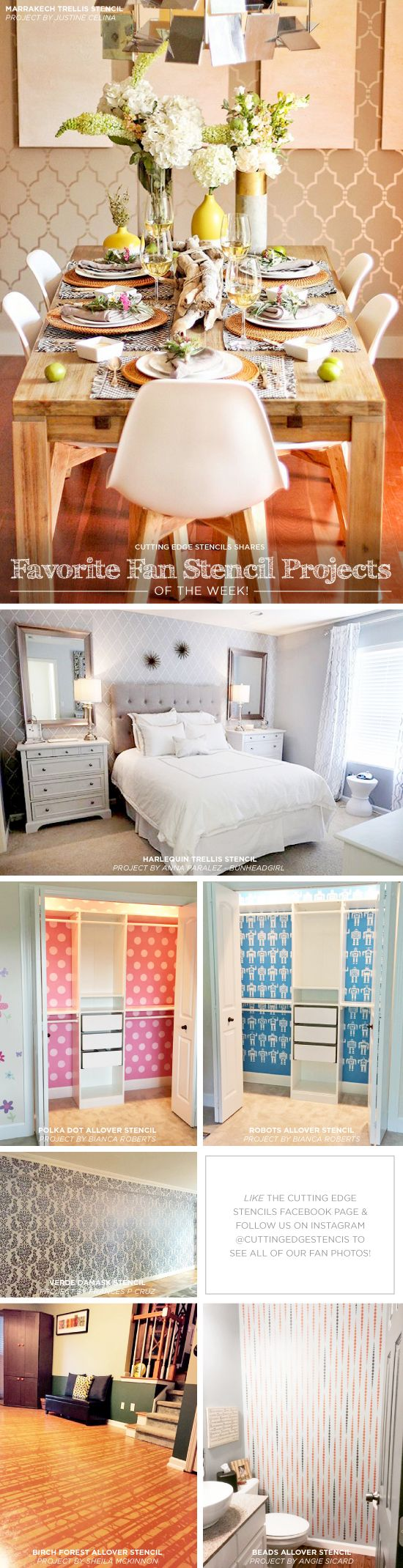 Cutting Edge Stencils shares DIY stenciled room ideas and accent wall projects.  http://www.cuttingedgestencils.com/wall-stencils-stencil-designs.html?utm_source=JCG&utm_medium=Pinterest%20Comment&utm_campaign=New%20Stencil%20Designs
