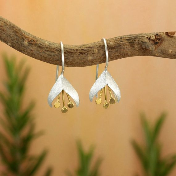 Snow Drop Sterling Silver & Gold Plate Flower Earrings/ Earrings for Pierced…