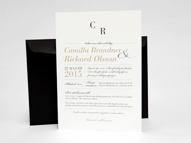 Bröllopstryck wedding svart kuvert Save-the-date, bröllopsinbjudan, kuvert, meny, vigselprogram, festprogram, tackkort. Se på bilderna här
