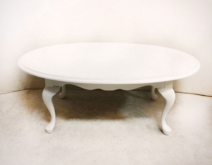 White Oval Solid Wood Coffee Table with Scalloped Skirt and Pretty Cabriole Legs $185