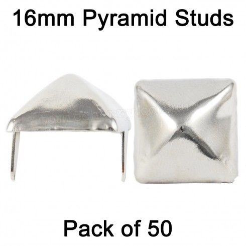 16mm Pyramid Studs - Silver (Pack of 50) $20