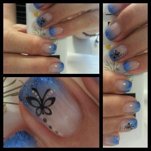 Butterfly nail art design.