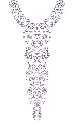 Tunisian Jewish Women Dress Neck Embroidery Design