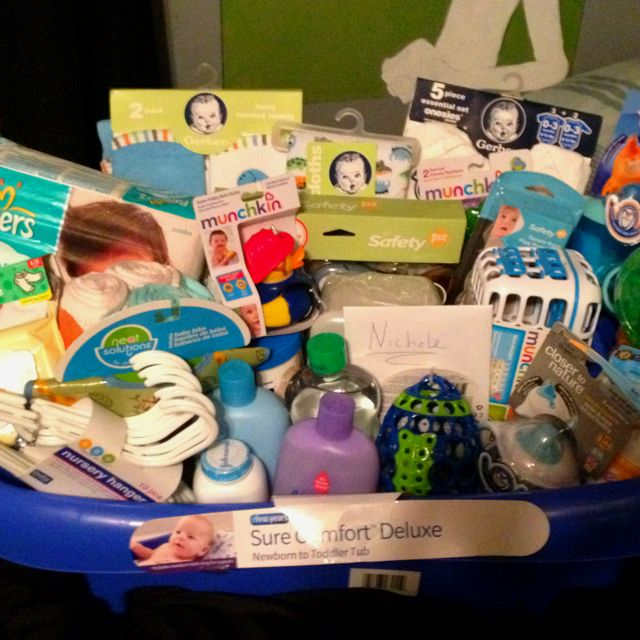 Baby shower gift basket, but put everything in a baby tub instead of a traditional basket!