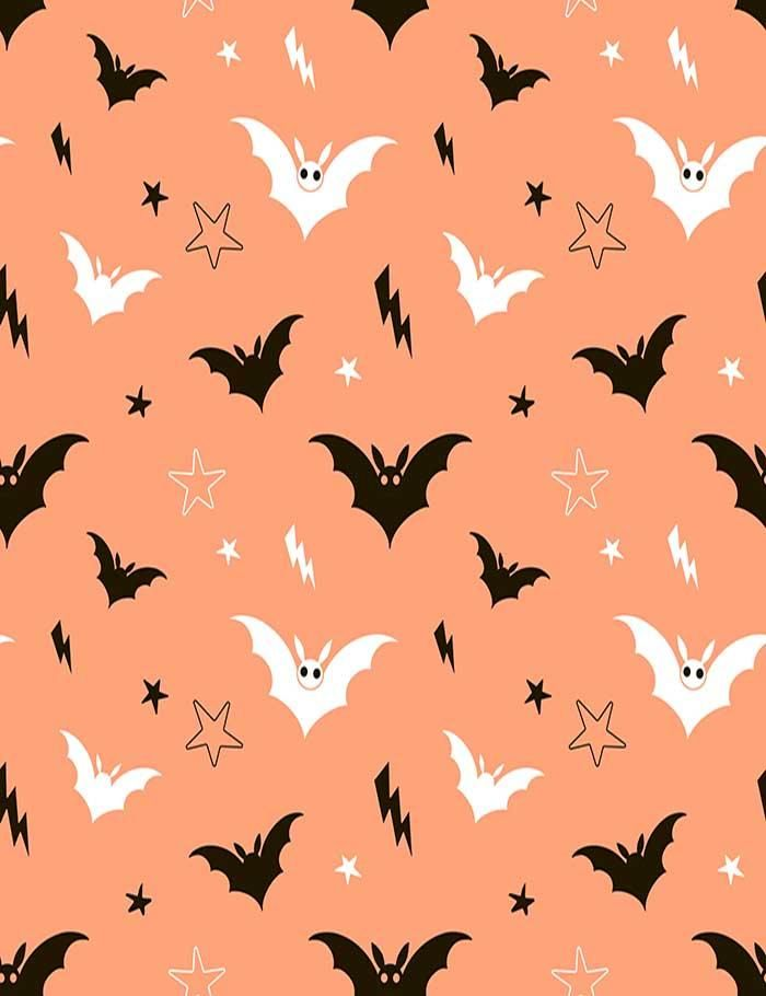 Painted Bat And Star With Orange Background Photography Backdrop J 0206 Orange Background Cute Fall Wallpaper Photography Backdrop