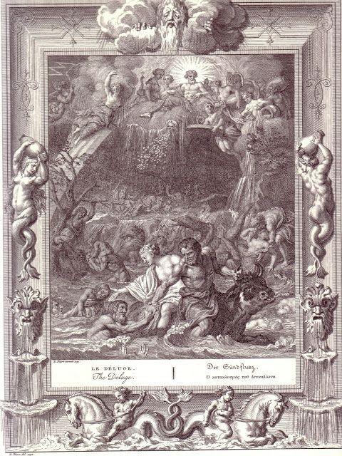 6.Ο Κατακλυσμός του Δευκαλίωνος...Κατά τον μύθο την εποχή που στη Θεσσαλία βασίλευε ο Δευκαλίωνας ο Δίας αποφάσισε να καταστρέψει όλη την γενιά των ανθρώπων που ήταν διεφθαρμένη, με εξαίρεση τον δίκαιο βασιλέα και την γυναίκα του την Πύρρα........