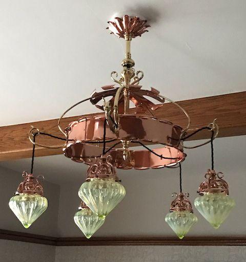 234 best was benson images on pinterest art nouveau brass and copper was benson antique c1895 ceiling light for sale aloadofball Images