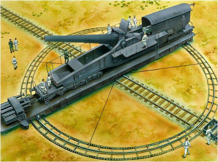 Cañón ferroviario 28cm Kurze Bruno K(E)(Beute), en Vögele-Drehscheibe, Bateria E.721, Verdon, Francia, 1944. Peter Dennis. Más en www.elgrancapitan.org/foro