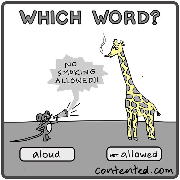 Which word is right: 'allowed' or 'aloud'? Look and learn with our cute cartoons about grammar and writing. More at http://contented.com