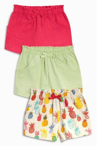 Buy Pineapple Print, Lime & Coral Shorts Three Pack (3mths-6yrs) from the Next UK online shop