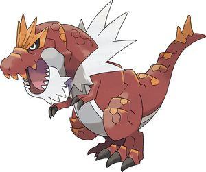 Pokeball Pokemon - Tyrantrum - uses Crunch, scooping up nearby enemies, munches on them, and then tosses them (much like midna)