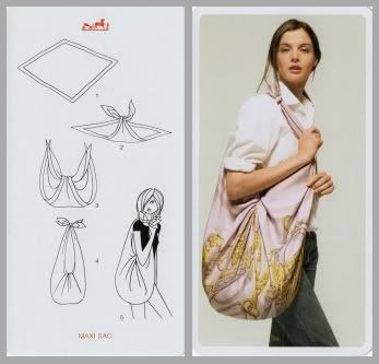 Make a quickie bag with a square piece of material or scarf. This site has several more examples of using a scarf or square piece of material for accessories.