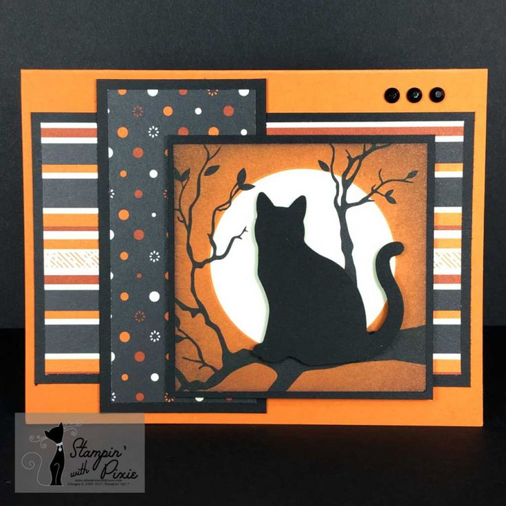 Stampin' With Pixie Moonshadow Cat Halloween card using Stampin' Up!® Spooky Night DSP, Spooky Cat stamp set and Cat Punch. For more details on how created the