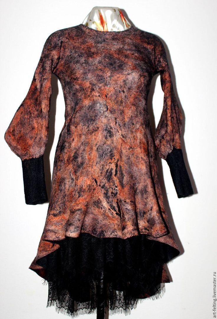 """Купить Валяное платье """" Легенды осени"""" - комбинированный, абстрактный, платье ручной работы"""
