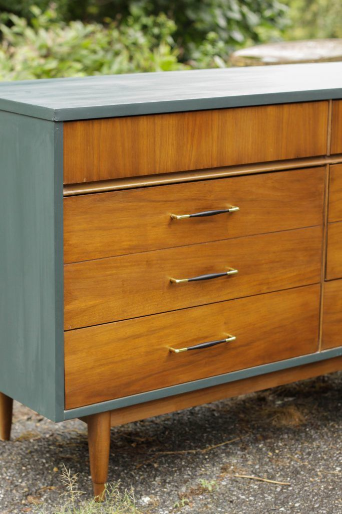 Teal & Wood Midcentury Double Dresser (paint laminate!)